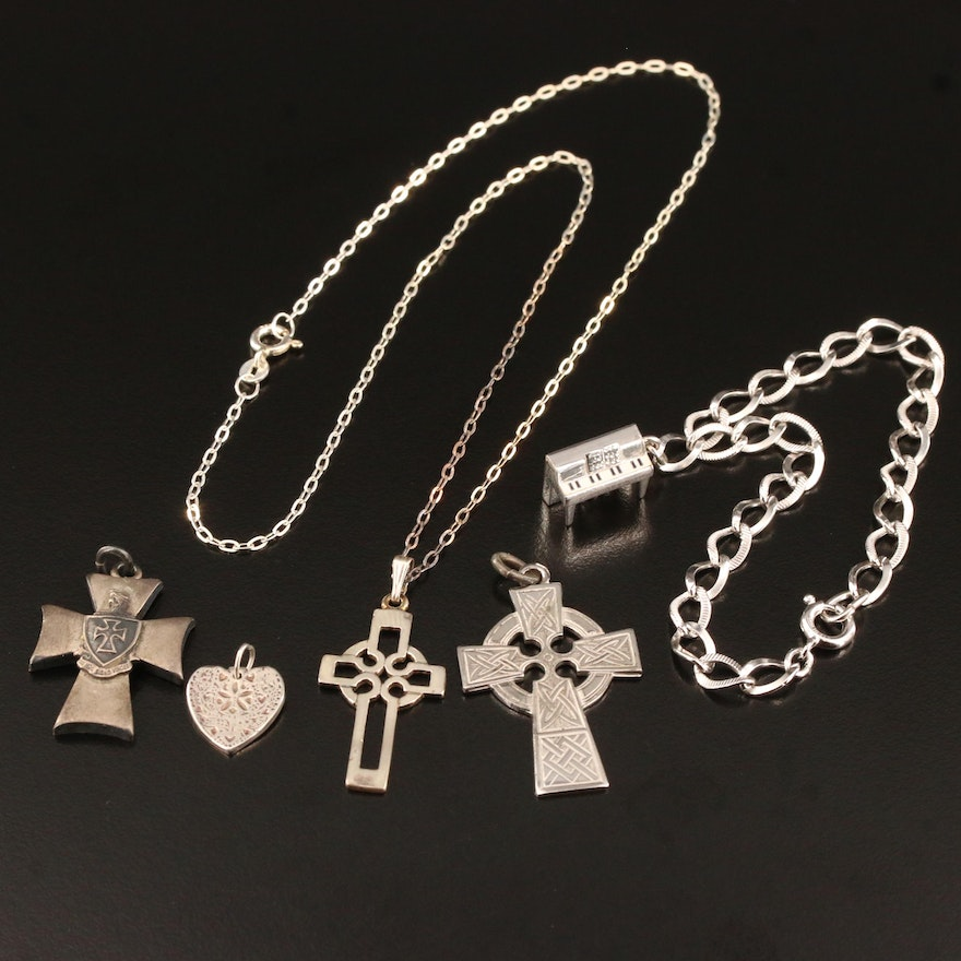 Sterling Silver Jewelry Selection Featuring Cross Pendants