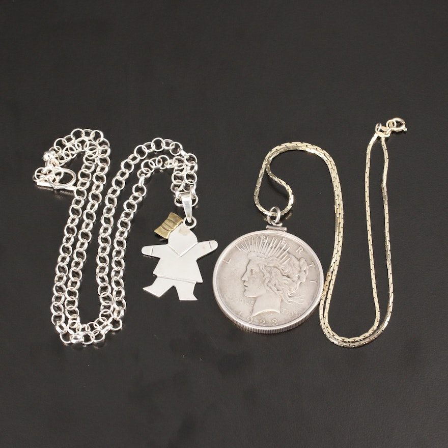 Figural Pendant Necklace and Sterling Cable Necklace with 1923 Peace Dollar