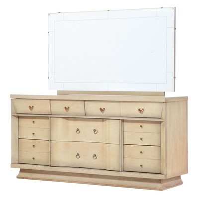 Unagusta Furniture Mid Century Modern Blondewood Ten-Drawer Dresser
