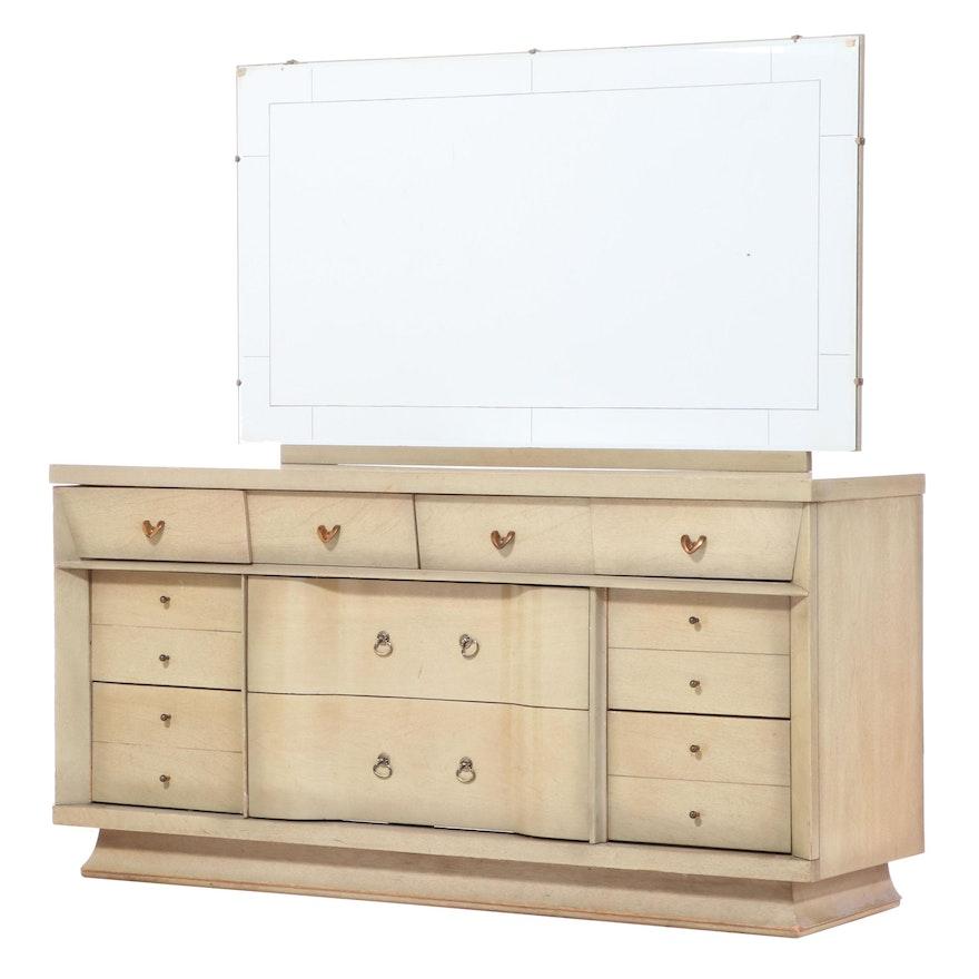 Unagusta Furniture Mid Century Modern Blondewood Ten-Drawer Dresser