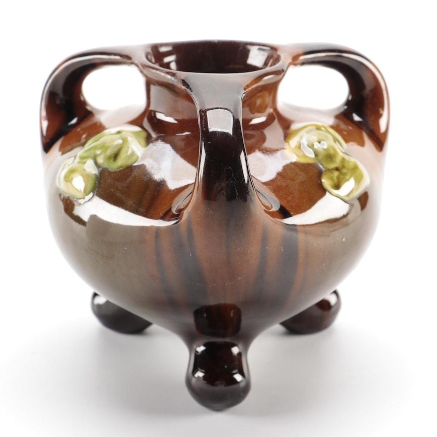 "Brown ""Cavalier"" Standard Glaze Art Pottery Three-Handled Loving Cup Vase"