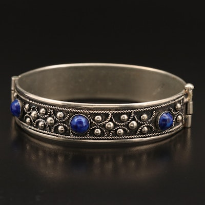 Mexican Alpaca Hinged Bangle with Bezel Set Lapis Lazuli