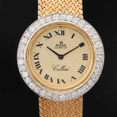 """Rolex """"Cellini"""" 1.20 CTW Diamond and 18K Gold Stem Wind Wristwatch"""