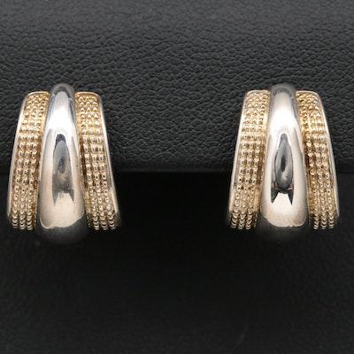 Sterling Silver J Hoop Earrings with Granulated Trim