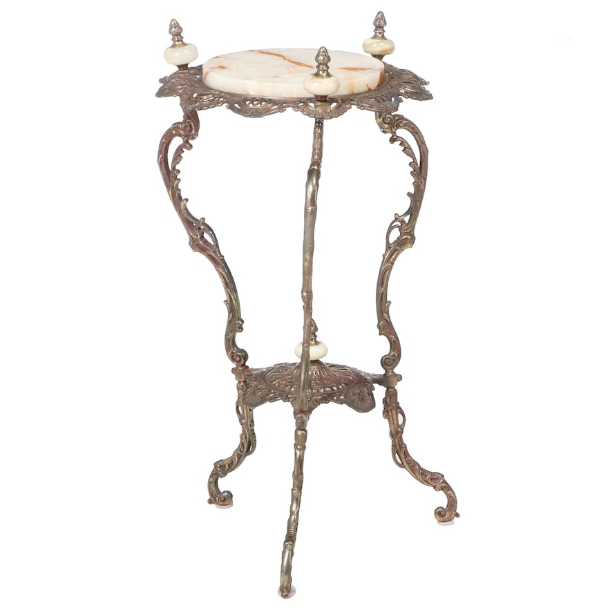 Late Victorian Pierced Brass and Onyx Plant Stand, Late 19th/Early 20th Century