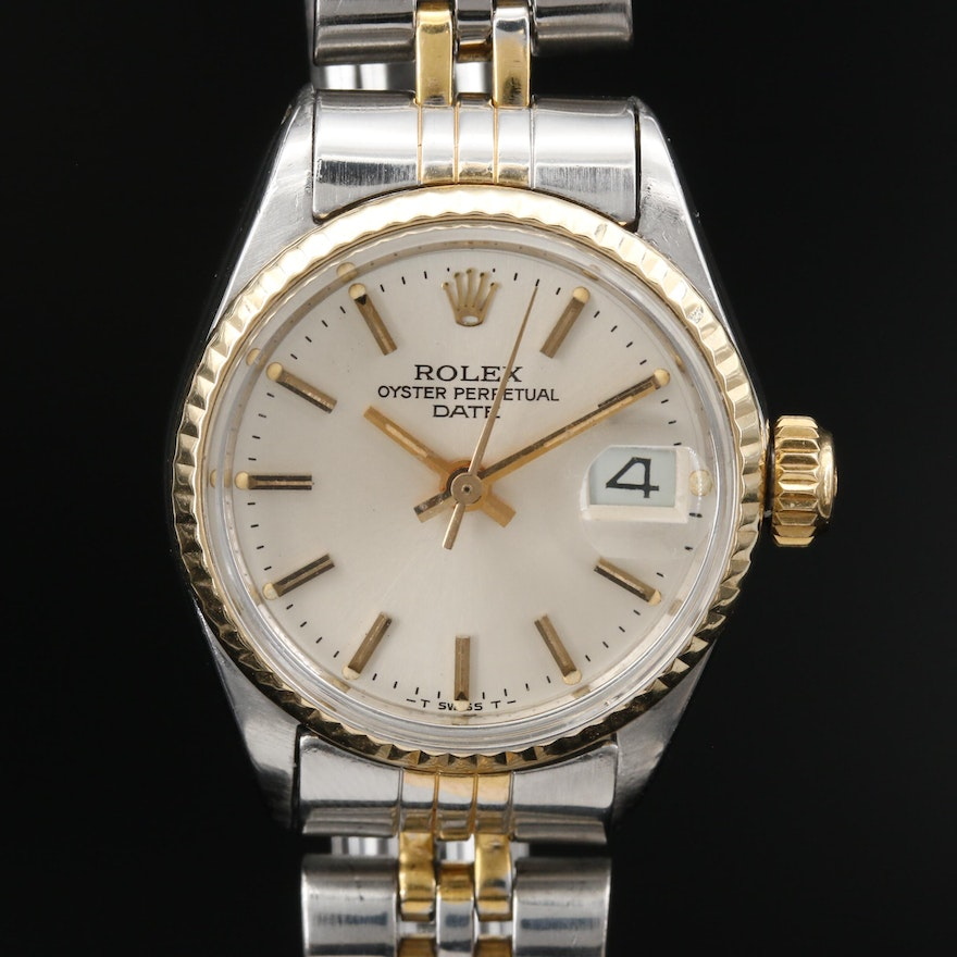 1971 Rolex Datejust #6517 Stainless Steel and 14K Automatic Wristwatch