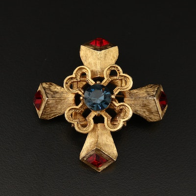 Hattie Carnegie Dimensional Maltese Cross Brooch with Rhinestone Accents