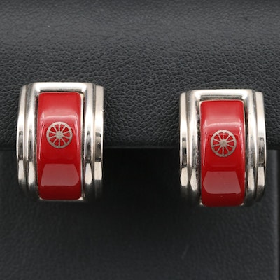Hermès Glass Carriage Wheel J Hoop Clip-On Earrings