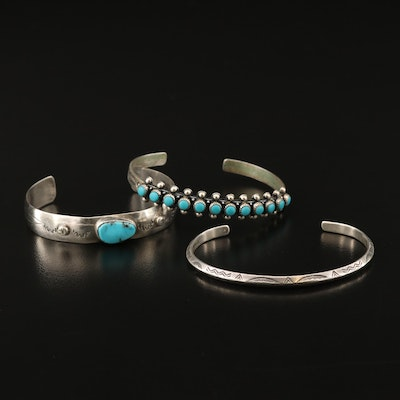 Southwestern Style Sterling Silver Turquoise Cuffs Featuring Bell Trading Post