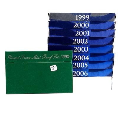 Ten U.S. Mint Proof Sets, 1998 to 2007