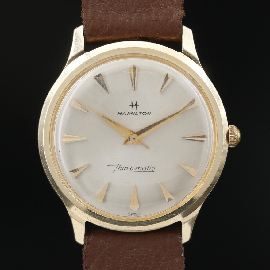 "Vintage Hamilton ""Thin-O-Matic"" 14K Gold Automatic Wristwatch"