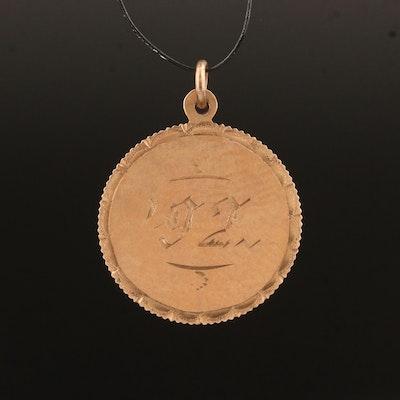Antique 10K Engraved Charm