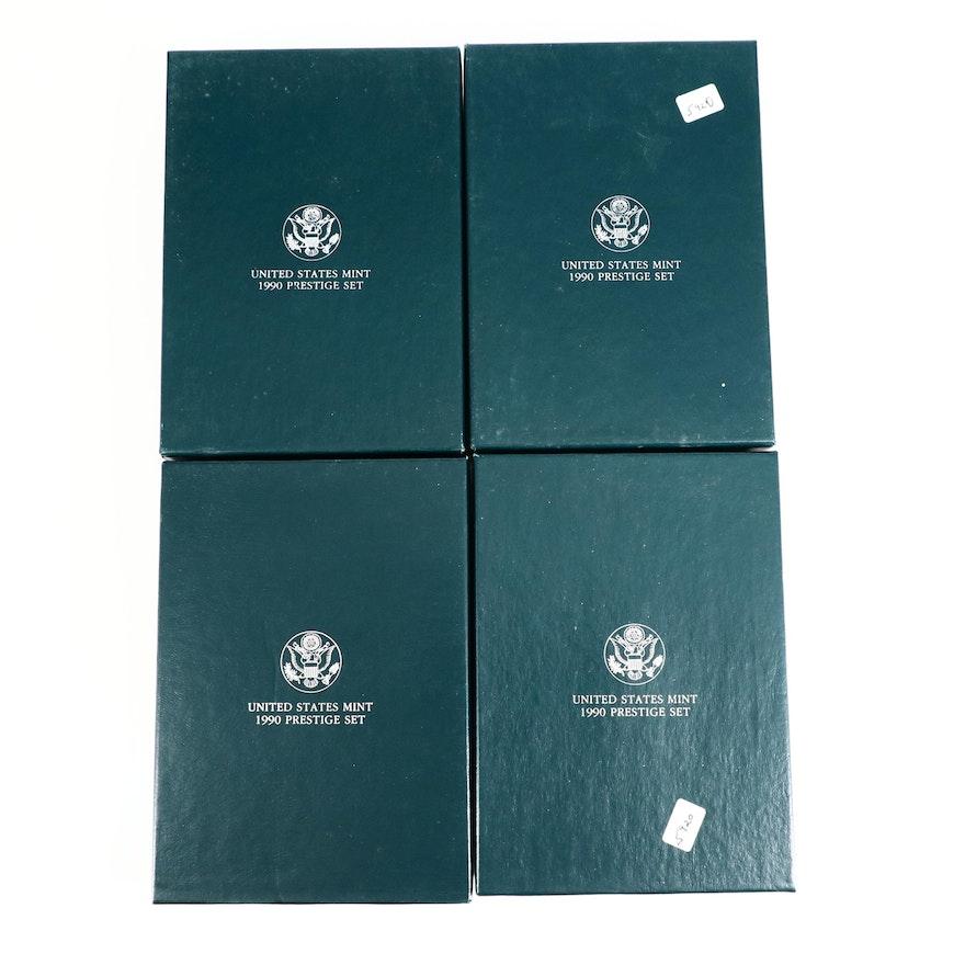 Four 1990 U.S. Mint Prestige Proof Sets