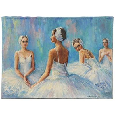 "Nataliya Shlomenko Oil Painting ""Swan Lake,"" 2011"
