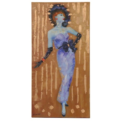 "Larissa Sievers Embellished Oil Painting ""Lady 50th"", 2020"