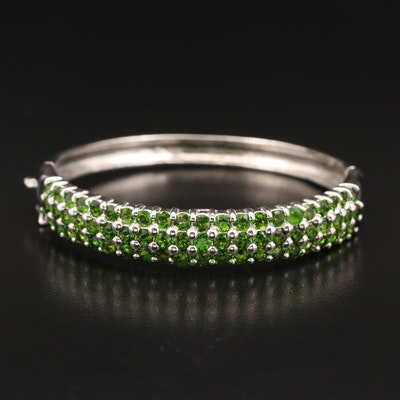 Sterling Silver Three Row Diopside Hinged Bangle