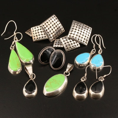 Sterling Silver Earrings and Pendants Featuring Black Onyx, Resin and Turquoise