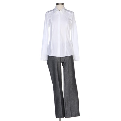 Escada Swarovski Embellished Blouse and Metallic Twill Pant Set