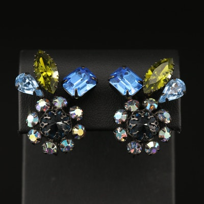 Vintage Schreiner Rhinestone Non-Pierced Earrings