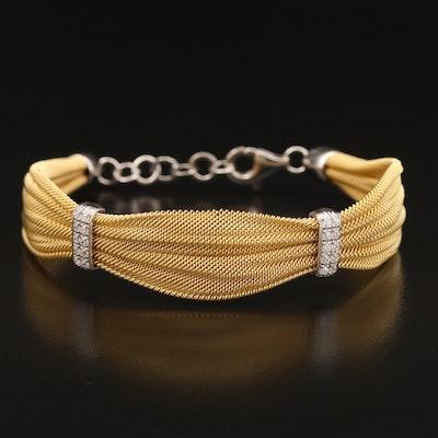 Sterling Cubic Zirconia Mesh Ribbon Bracelet