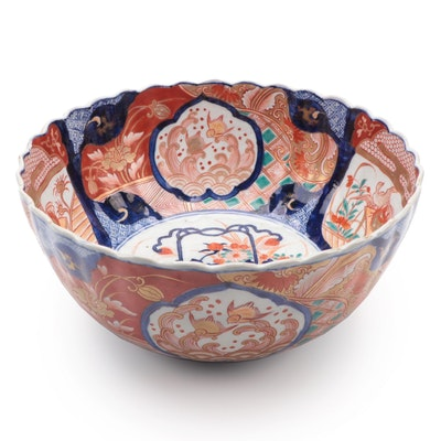 Imari Style Hand-Painted Ceramic Centerpiece Bowl