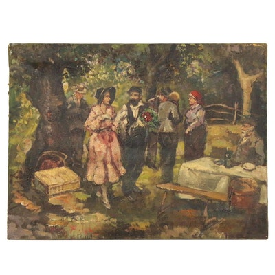 Oil Painting of Figures in Outdoor Picnic Setting, Mid 20th Century