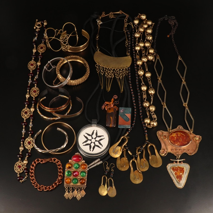 Earrings, Necklaces and Bracelets with Tiger Iron and Copper