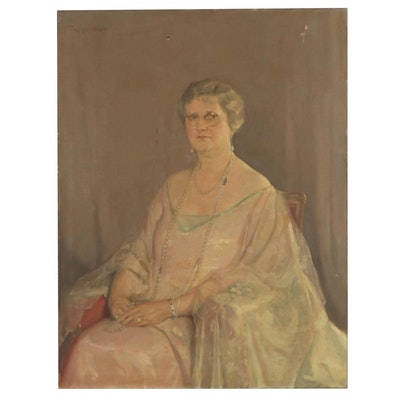 Oil Portrait of Distinguished Woman, Mid 20th Century