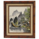 Chinese Inspired Acrylic Landscape Painting, Mid 20th Century