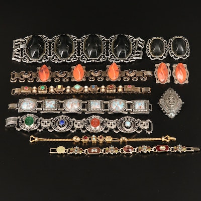 Vintage Jewelry Assortment Including Goldette, Pearl and Rhinestone