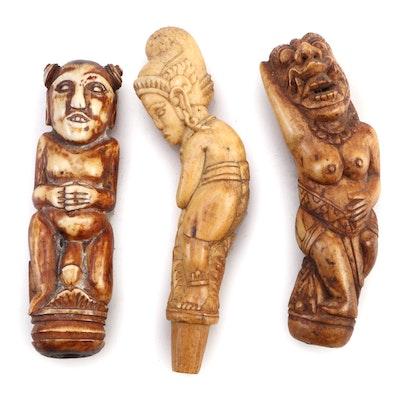 Indonesian Carved Bone Keris Handles
