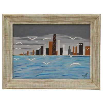 Modernist Acrylic Skyline Painting, Late 20th Century
