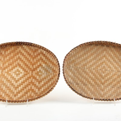 Southeast Asian Style Flat Woven Basket Trays