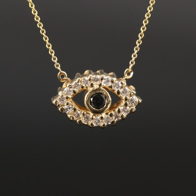 14K Diamond Reversible Evil Eye Necklace