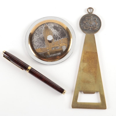 Parker Fountain Pen with Brass Paperweight and Italian Bottle Opener