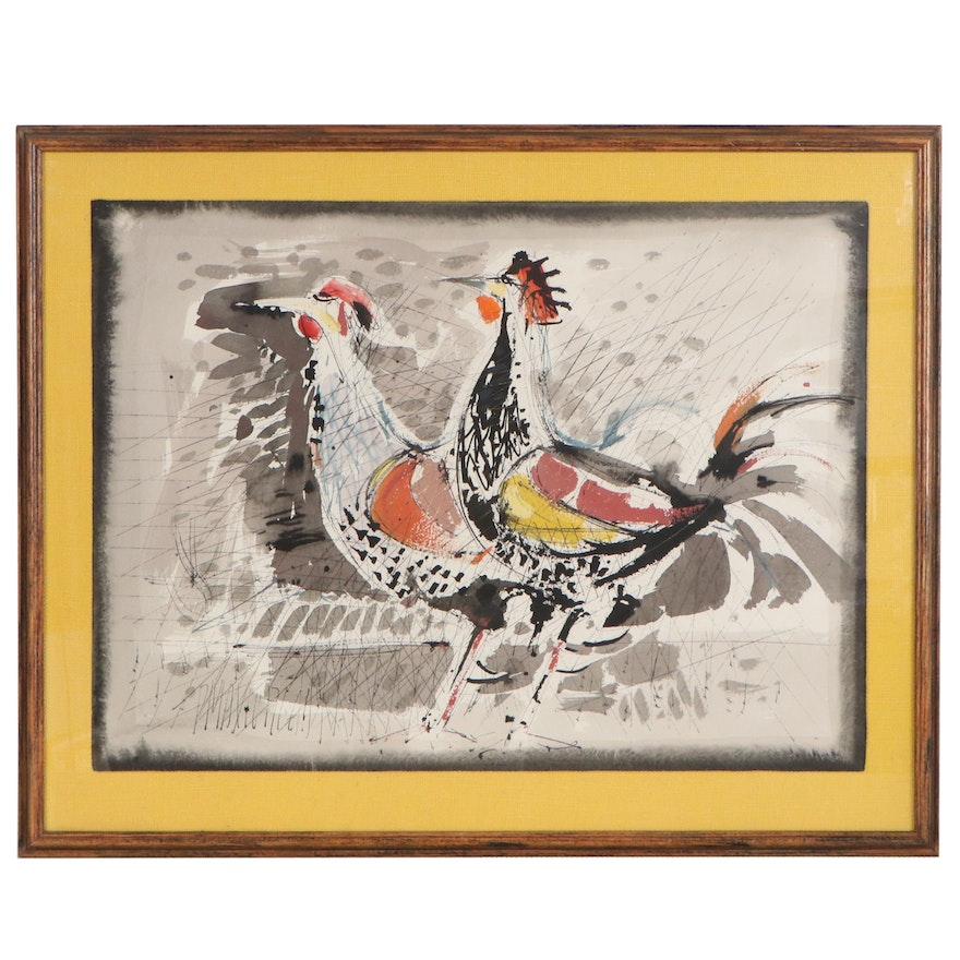 Abstract Watercolor Painting of Chickens, Mid to Late 20th Century