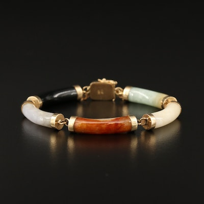 Jadeite and Black Onyx Bracelet with 14K Clasp and Kanji Love Character