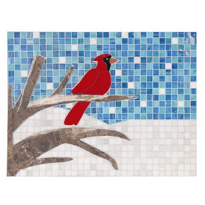 Stone and Tile Mosaic of Cardinal in Winter Landscape, 21st Century