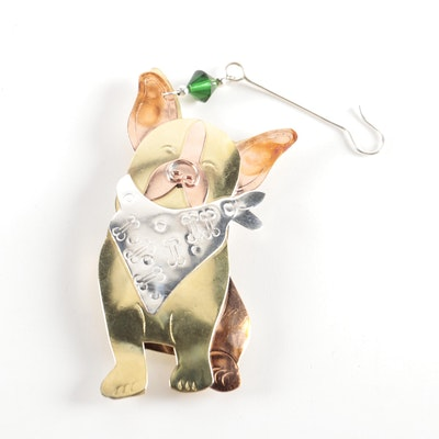 Metal French Bulldog Christmas Ornament