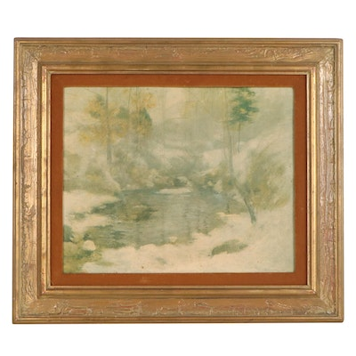 "Offset Lithograph after John Henry Twachtman ""Winter Harmony"""