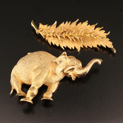 Vintage Hattie Carnegie Leaf Brooch with Hobé Elephant Converter Brooch