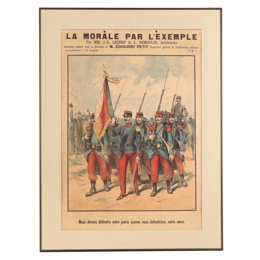 "French Lithograph ""La Morale Par L'Exemple"", Late 19th to Early 20th Century"