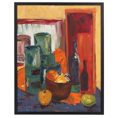 Still Life Impasto Oil Painting, Late 20th Century