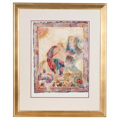 "Multi-Color Relief Print ""Hellus V,"" Late 20th Century"