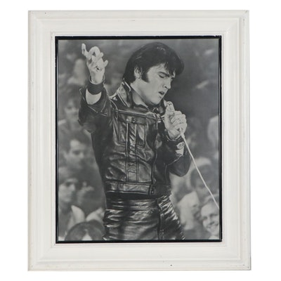 Black-and-White Photograph of Elvis Presley in Black Leather