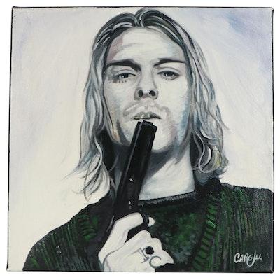 Chris Cargill Mixed Media Painting of Kurt Cobain Portrait