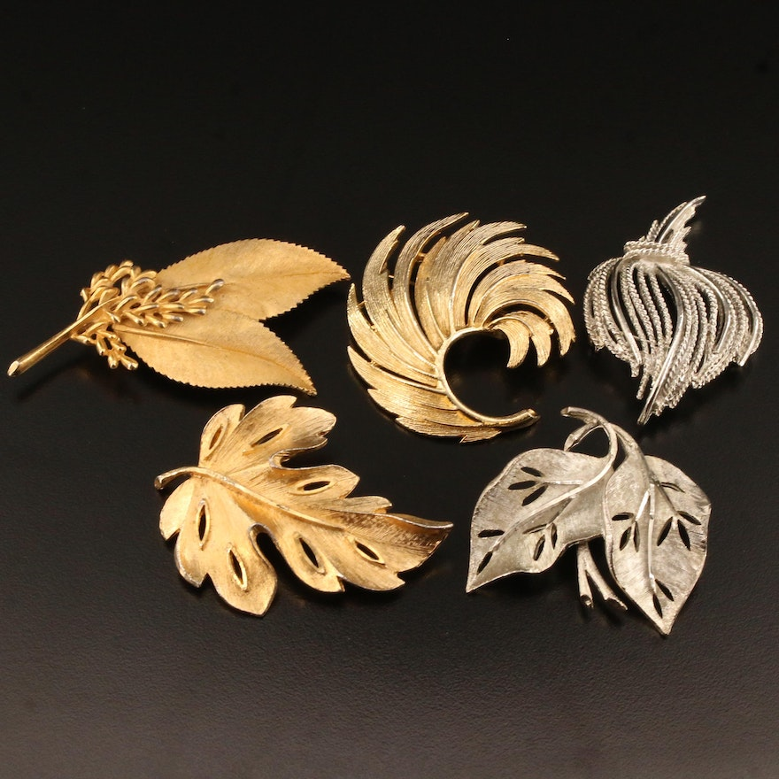 Circa 1960's Leaf Brooch Selection Featuring B.Steinberg Kaslo Co. Inc.