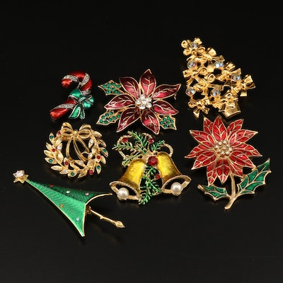 Christmas Brooches Featuring Eisenberg Ice Wreath and Cerrito Christmas Tree