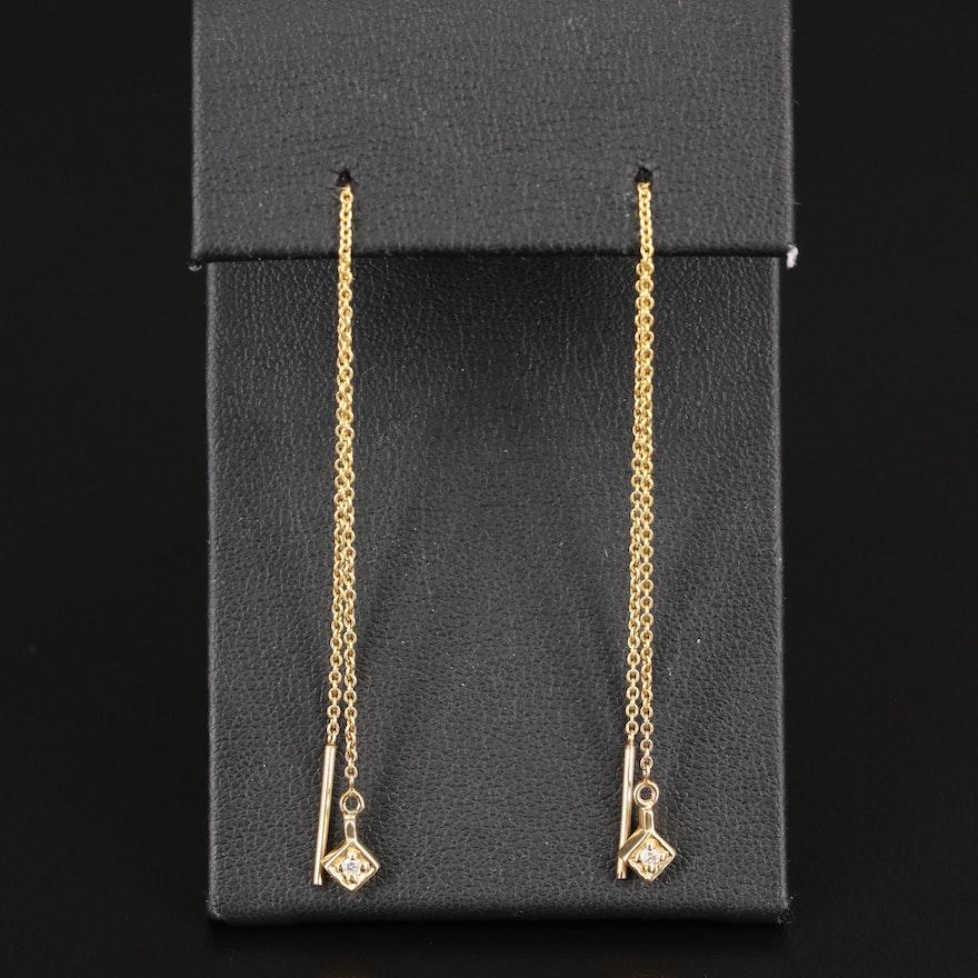 14K Diamond Threader Earrings