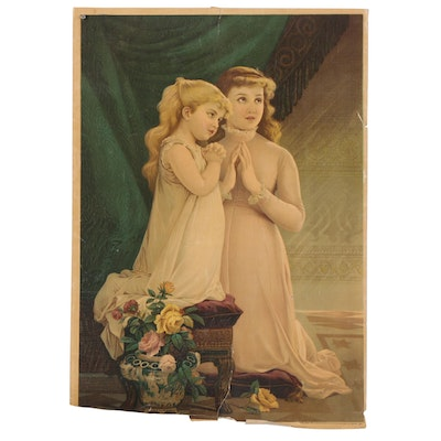 "Chromolithograph after Emile Munier ""La Priére (Prayer),"" 19th-20th Century"